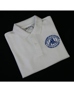 Rowlinson Barnby Road Academy polo shirt with logo White £8.25